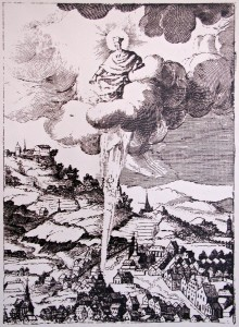 St. John of Nepomuk points at his birthplace in Nepomuk, an engraving according to the design of Karel Skréta, 1641